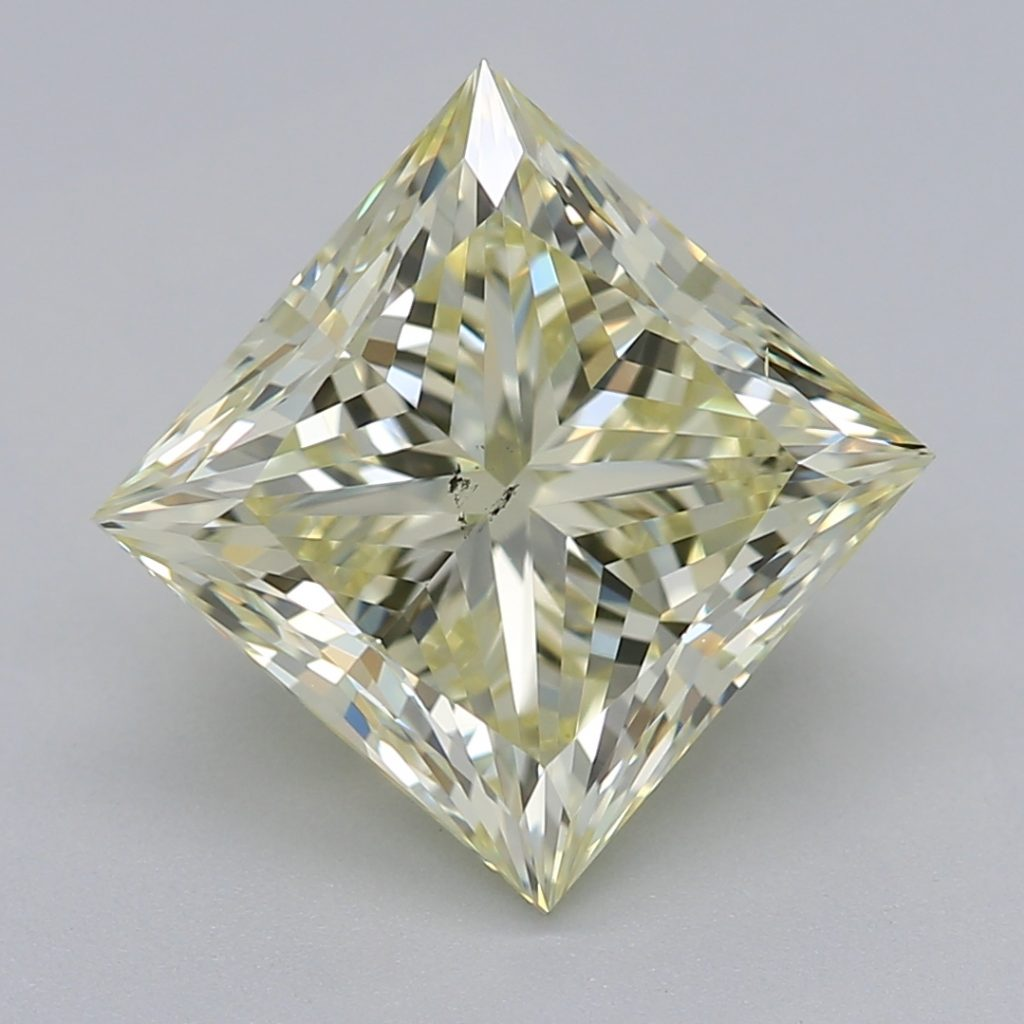 Princess cut diamond 2.50 carat Fancy Yellow