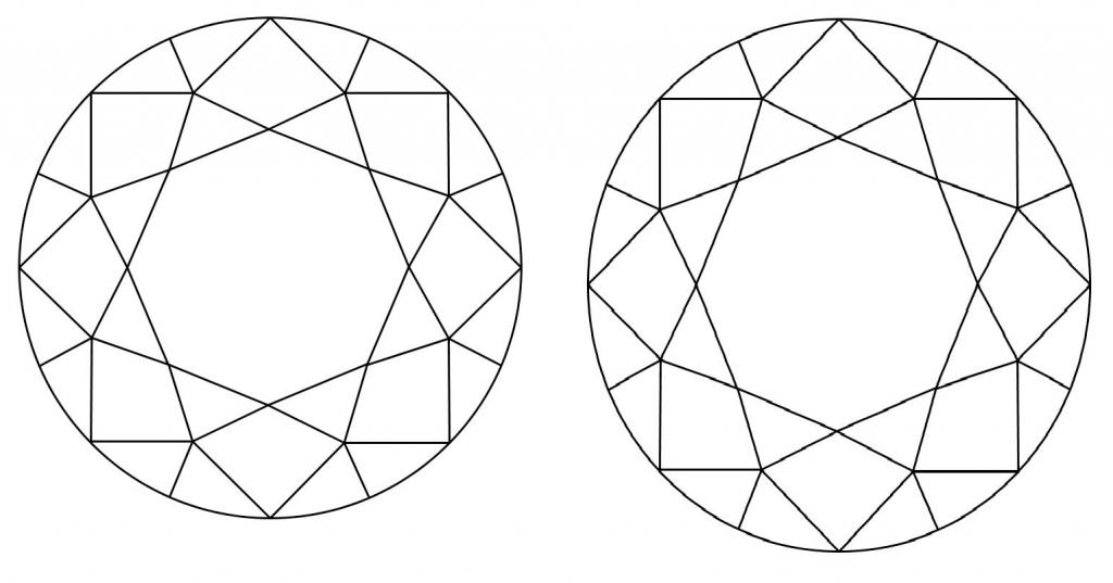 Round cut diamond ratio LW - 1.00, 1.05