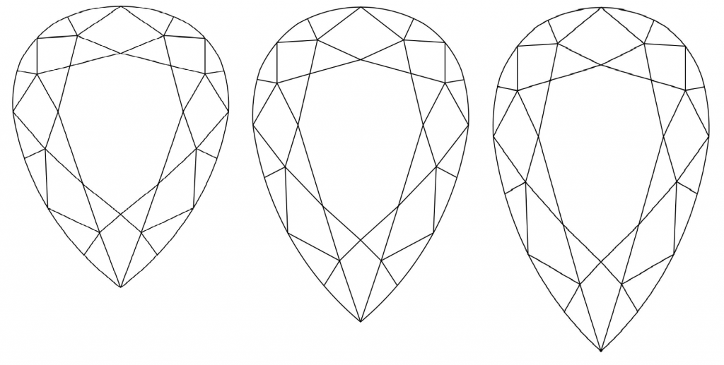 Pear shaped diamond ratio - 1.40, 1.55, 1.70