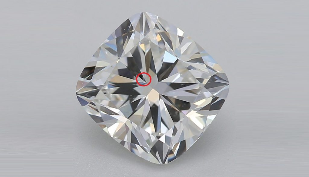 Cushion cut diamond VS2 with VS marked in red
