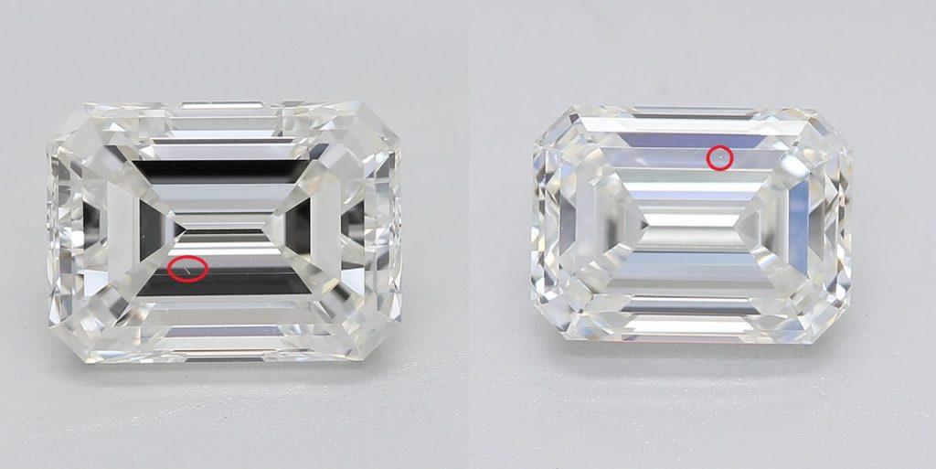 Emerald cut diamond VS1 vs VS2