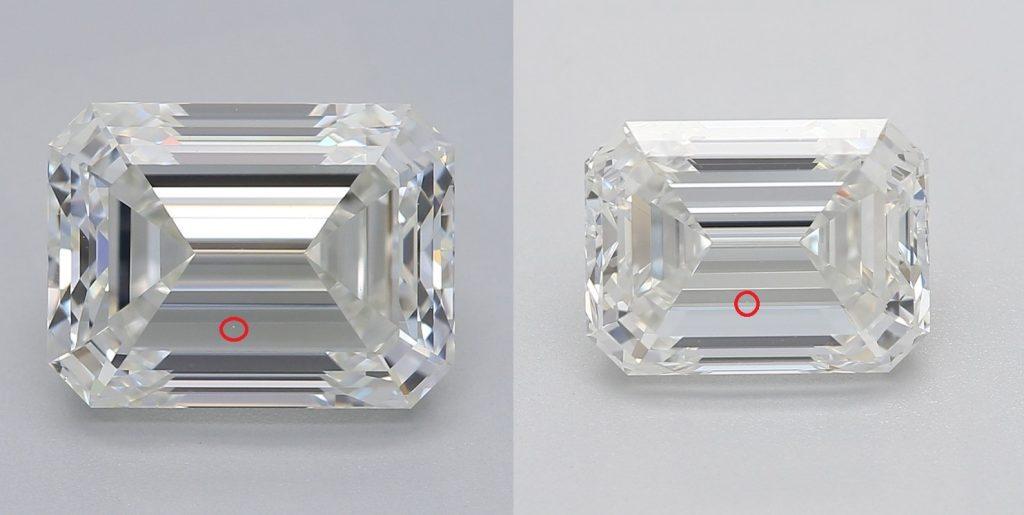 Emerald cut diamond VVS2 vs. VS1