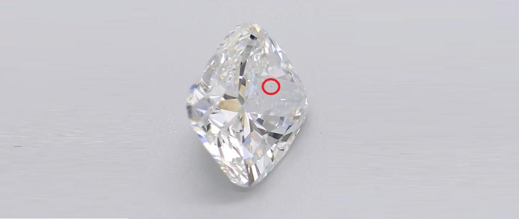 Cushion cut diamond vs1 side with mark