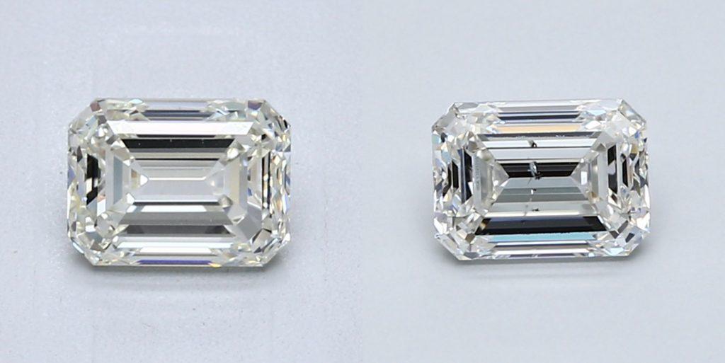 eye clean emerald cut diamond vs NOT eye clean emerald cut diamond