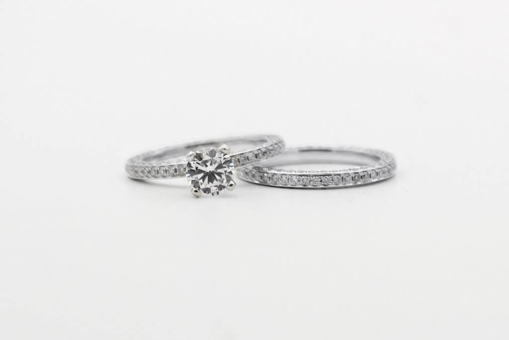 pave diamond ring solitaire and pave wedding ring - The Pavé Setting