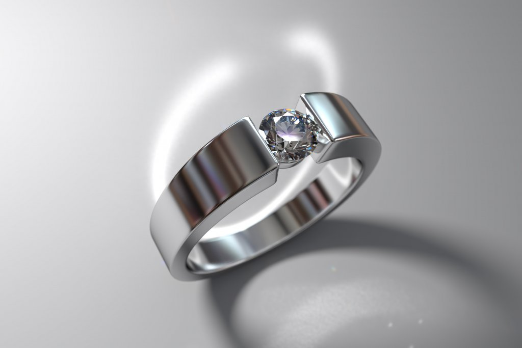 wide white gold round cut diamond ring - tension settings