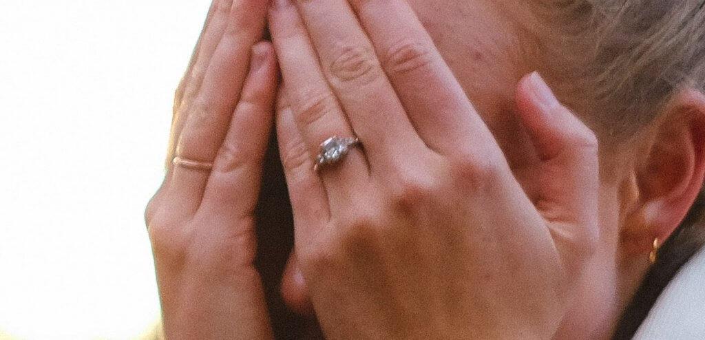 3 stone ring emerald engagement ring - VVS1 Diamonds