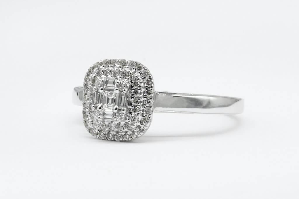 asscher cut double halo engagement ring - The VS Diamond Clarity Grade