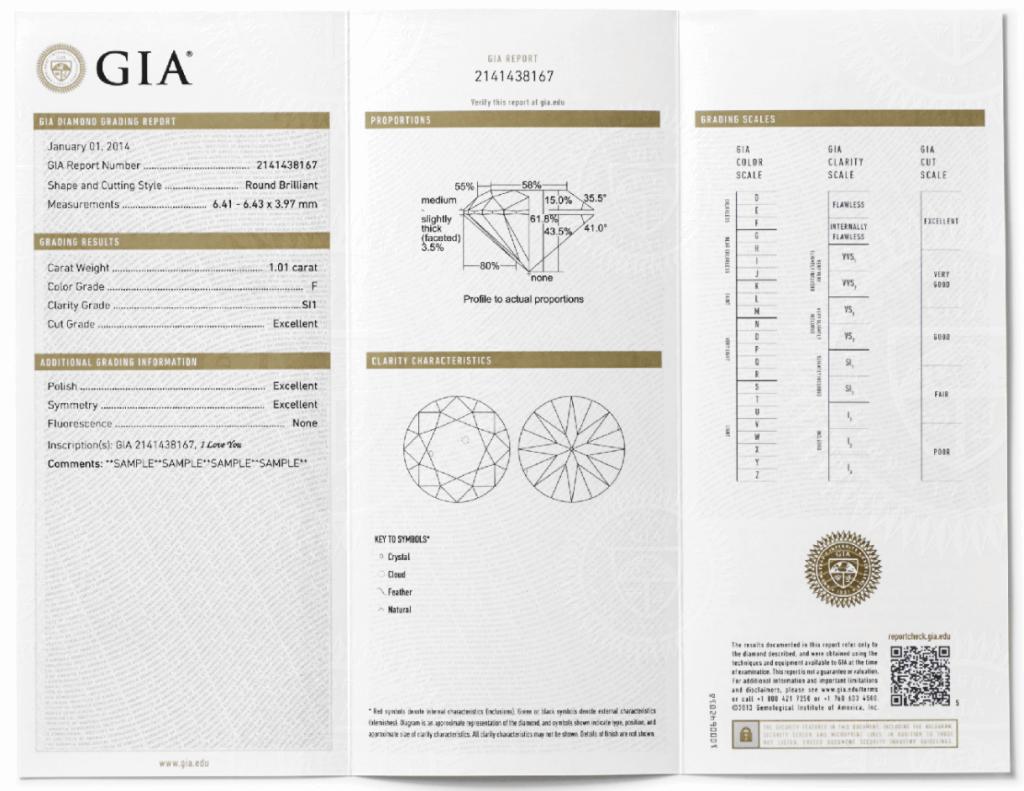 gia report sample - The Four Cs of Diamonds