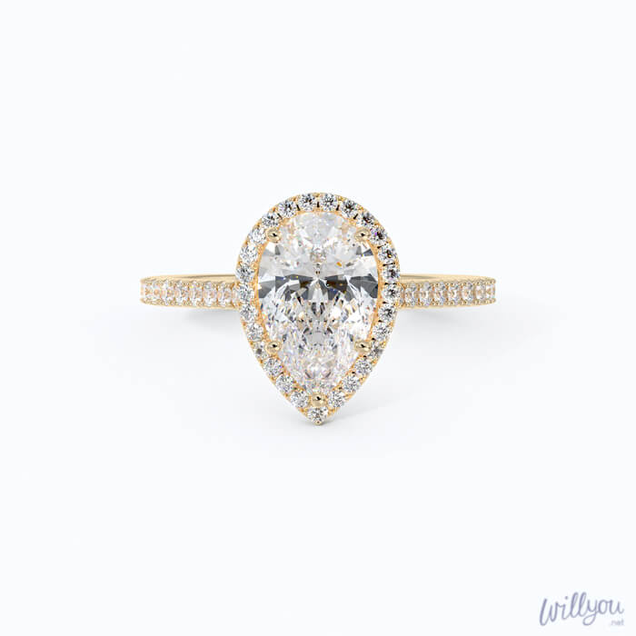 pear-halo-engagement-ring-in-yellow-gold-front-down - Everything You Need to Know About J Color Diamonds