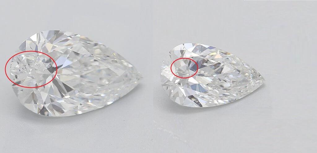 pear shaped diamonds comparison SI1 SI2 - SI2 Diamond Clarity