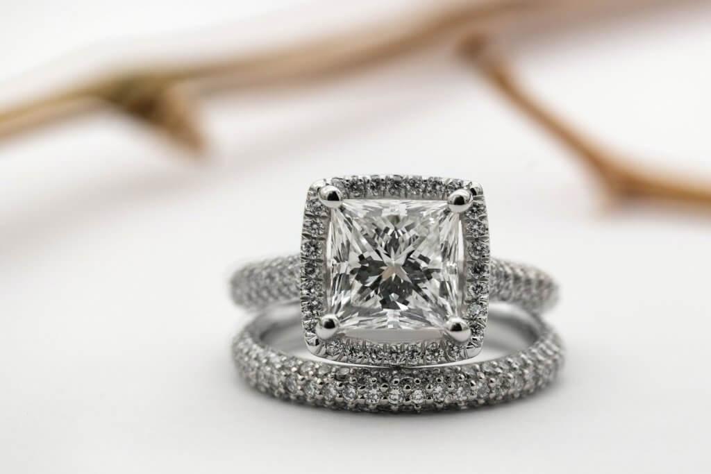 princess 4 prong halo engagement ring - The Four Cs of Diamonds