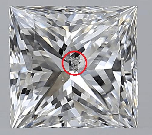 princess cut Diamond Clarity I1 and I2 inclusion