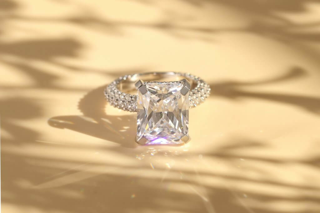 radiant cut pave solitaire engagement ring - Everything You Need to Know About F Color Diamonds.jpg.jpg