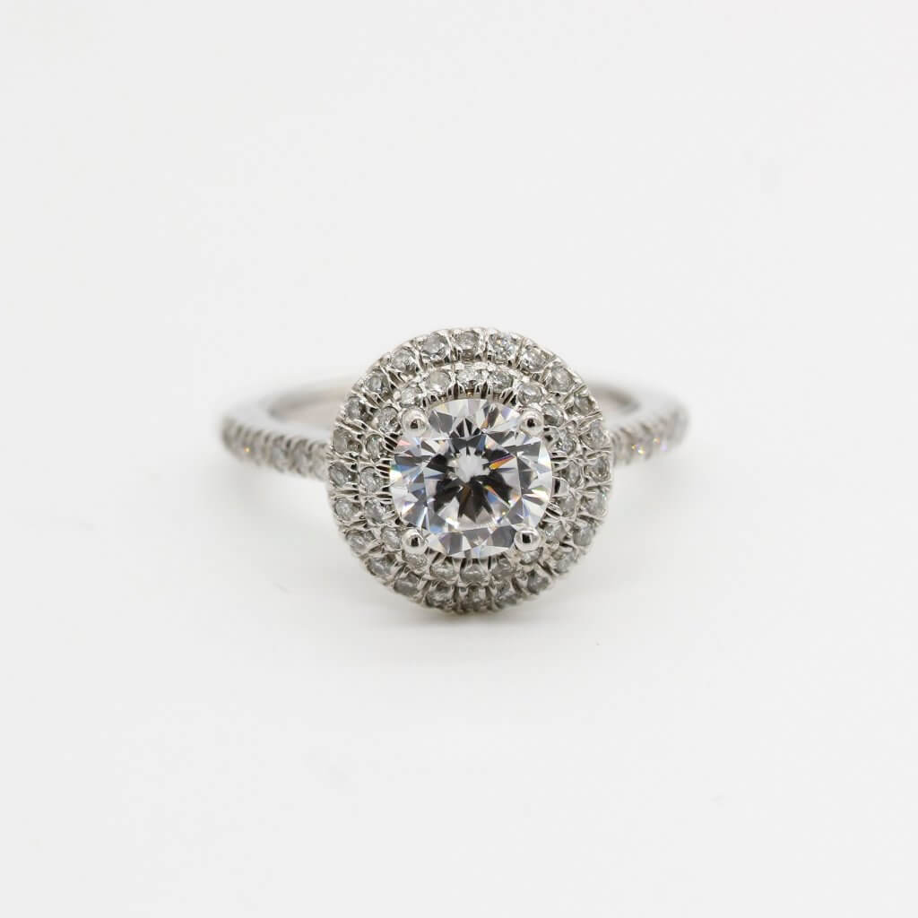 round cut diamond double halo pave engagemnet ring  - Everything You Need to Know About I Color Diamonds