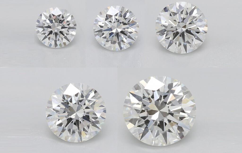 0.70ct - 1ct - 1.5ct - 2ct - 3ct -Diamond Carat Size