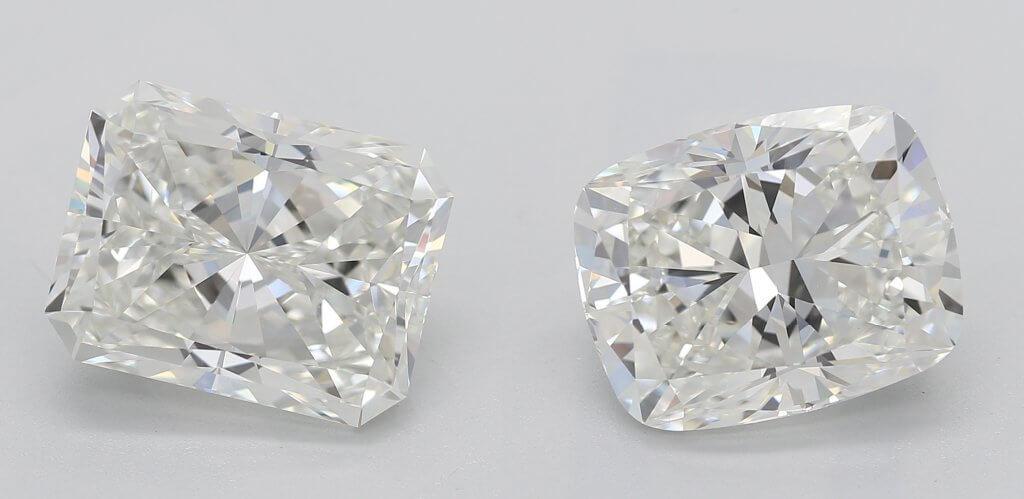 2 carat radiant cut diamond vs 2 arat cushion cut diamond - The Radiant vs Cushion Cut