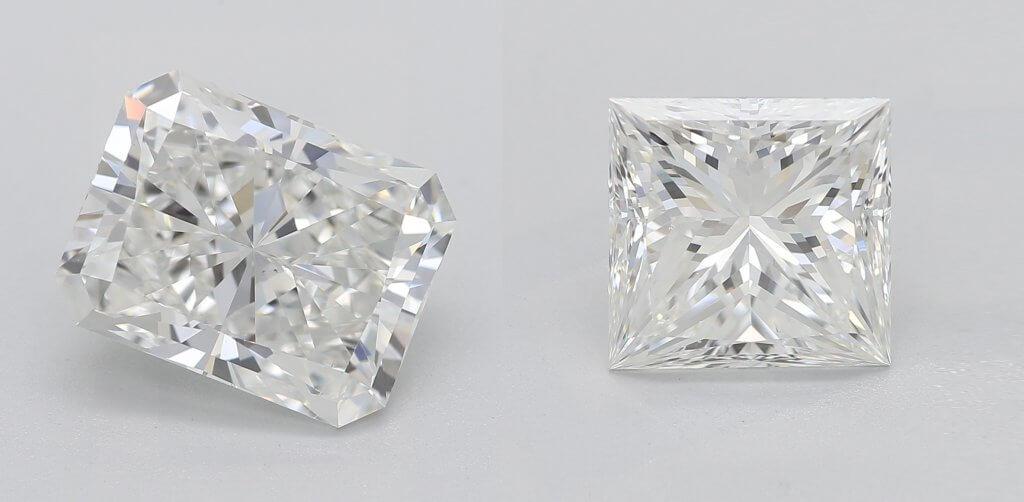 Radiant cut diamond 3 carat vs Princess cut diamond 3 carat SI1 - The Radiant Cut vs the Princess Cut